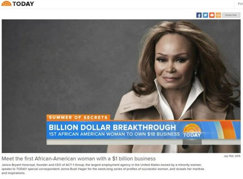 NBC TODAY SHOW Spotlights Achievements Of CEO Janice Bryant Howroyd